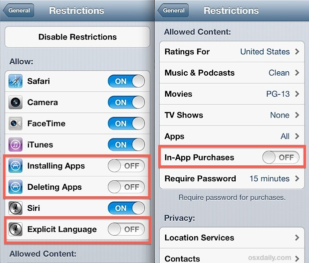 Usa le restrizioni come controllo parentale in iOS