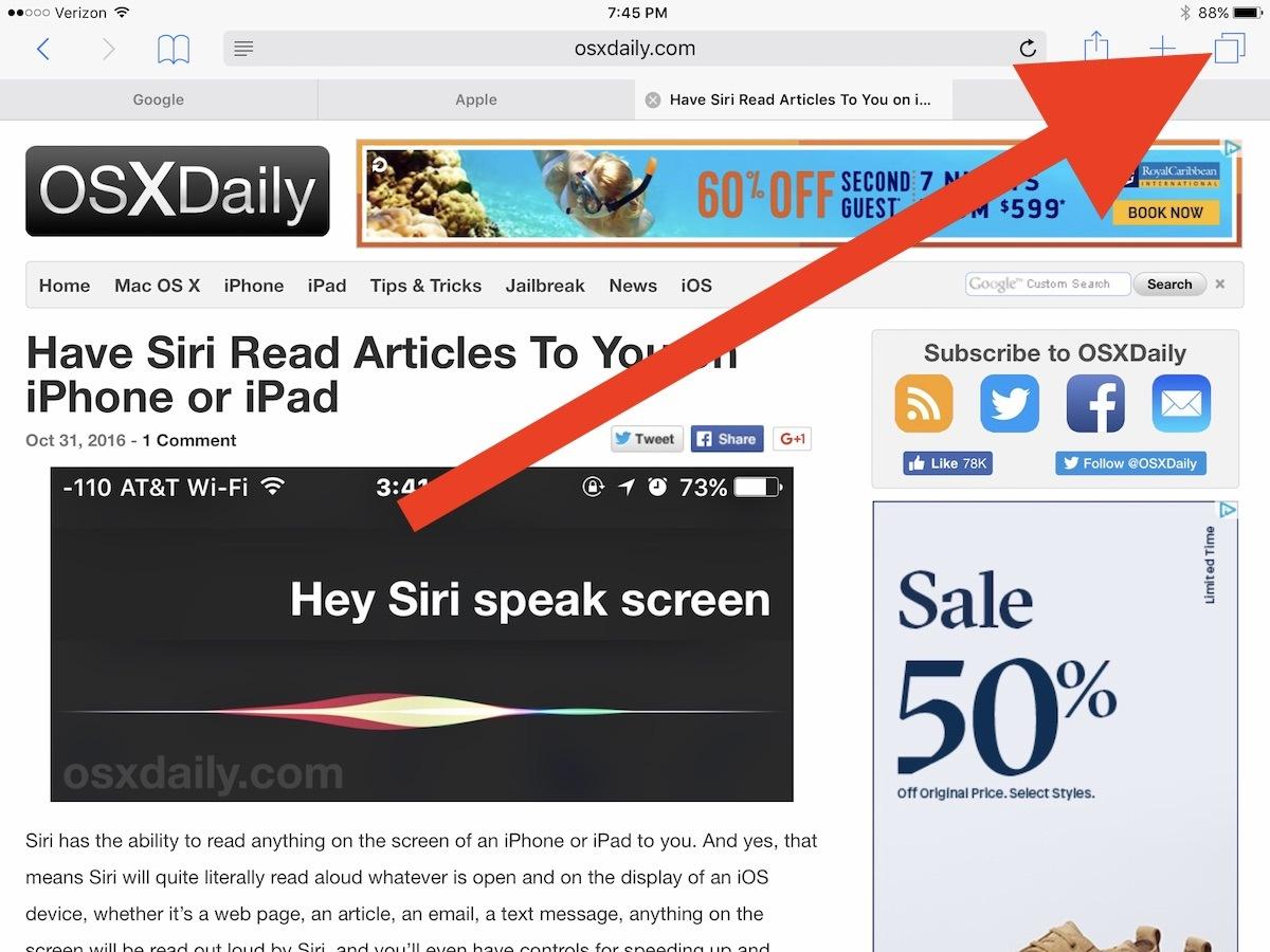 iPad open safari Split View