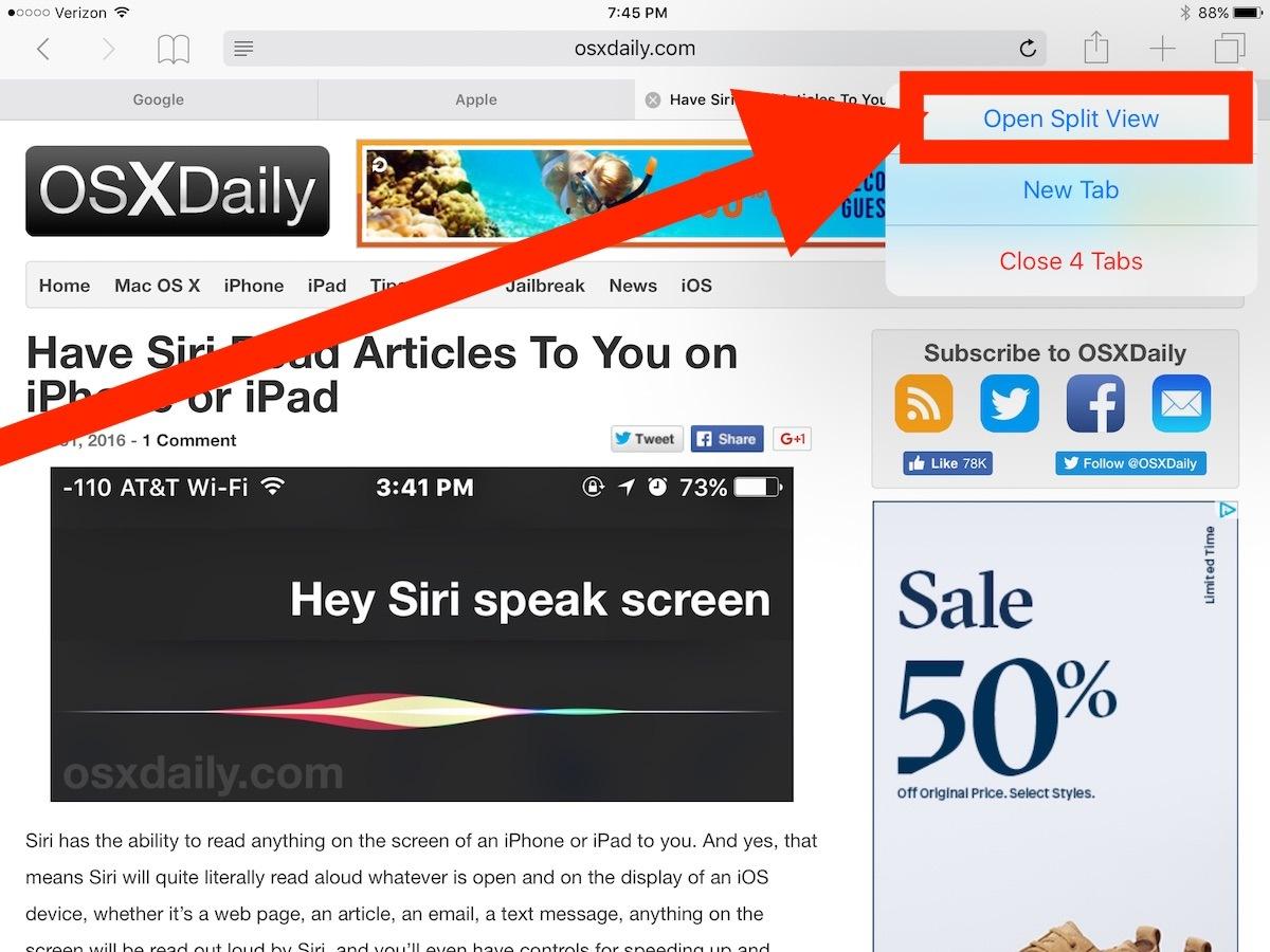 Apri Vista divisa per iPad in Safari