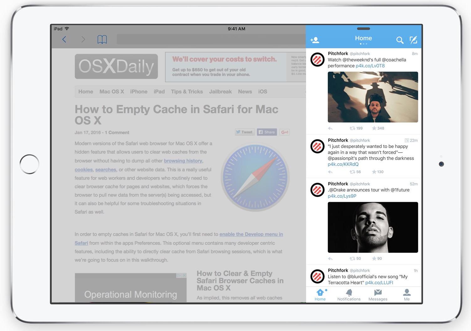 Scorri il multitasking su iPad