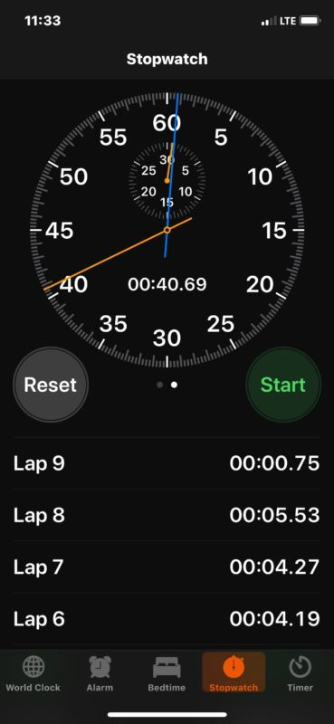 Notando giri in cronometro iOS