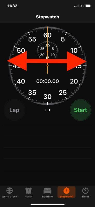Accedi a diverse apparizioni di Cronometro su iOS