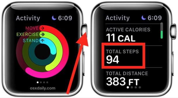 Accesso al contapassi del pedometro su Apple Watch