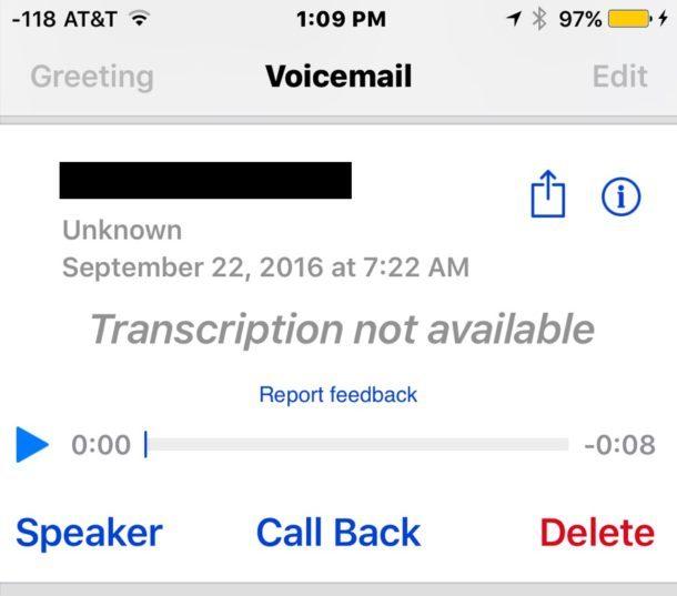 Trascrizione Voicemail non disponibile
