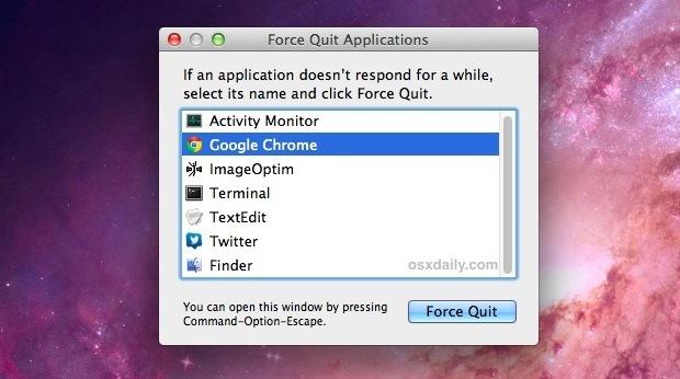 Mostra le app in esecuzione con il menu Force Quit in Mac OS X