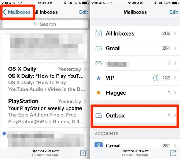 Accedere ai messaggi non inviati nell'app iOS Mail