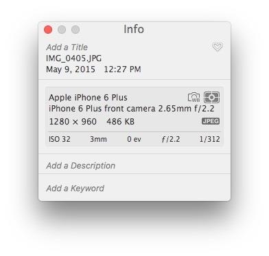 Dati EXIF visualizzati in Foto per Mac