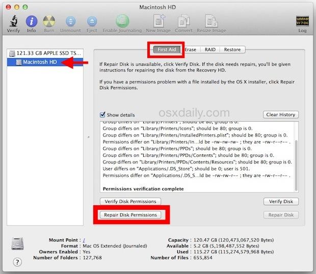 Ripara permessi del disco in Mac OS X.