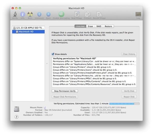 Riparazione delle autorizzazioni del disco su un Mac con Utility Disco in OS X