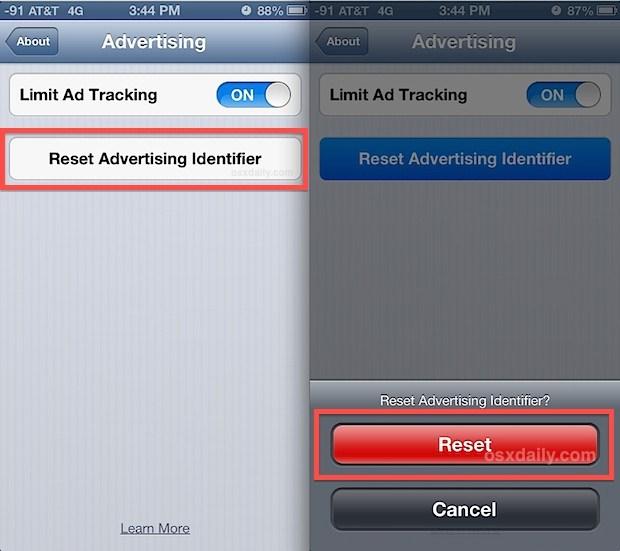 Reimposta l'ID di monitoraggio degli annunci in iOS