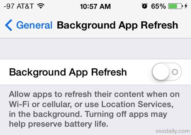 Disattiva aggiornamento app in background