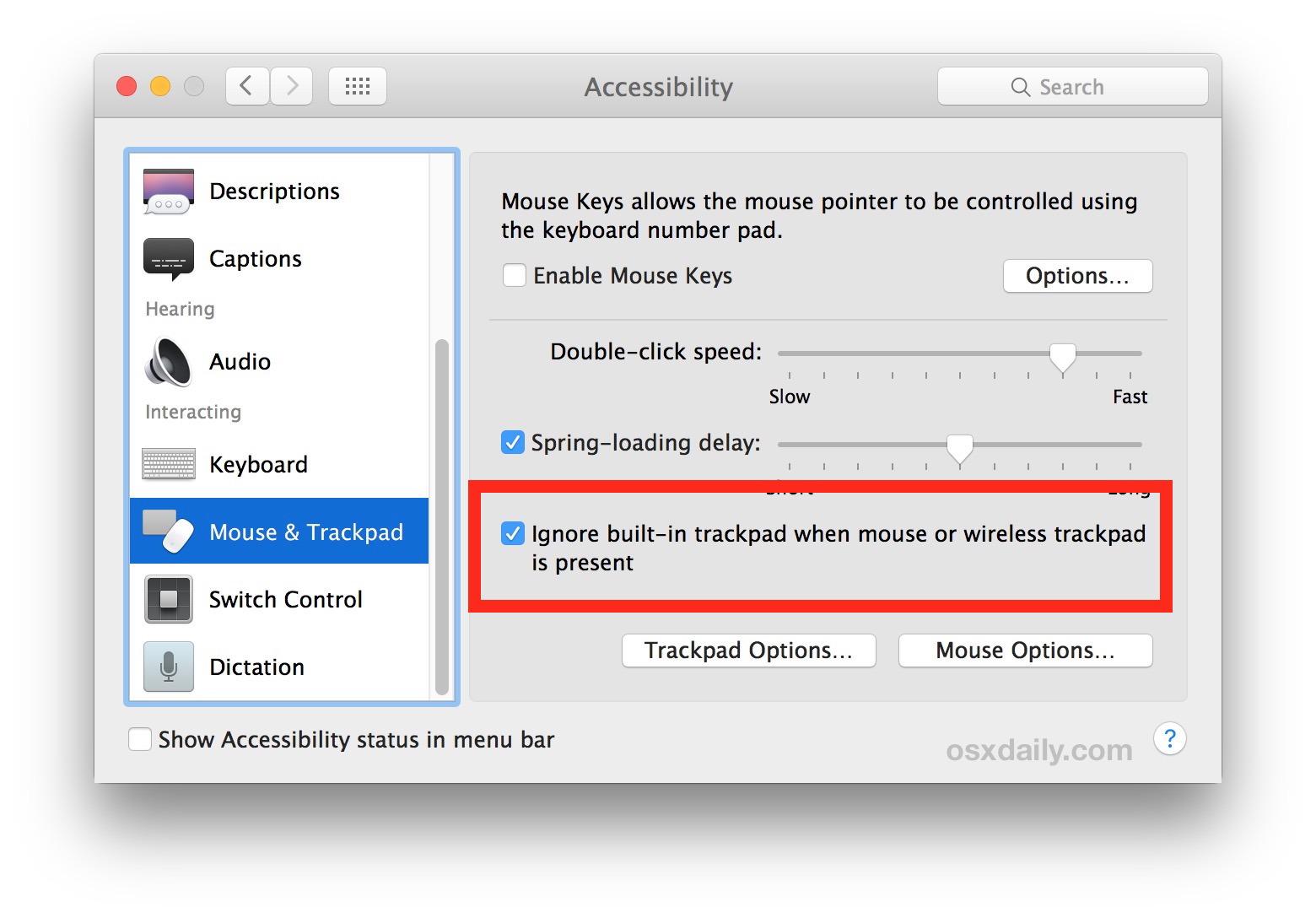 Disattiva il trackpad quando il mouse o il trackpad esterni sono collegati al Mac