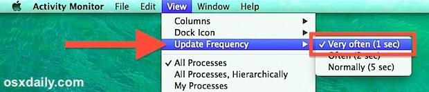Cambia frequenza di aggiornamento di Activity Monitor