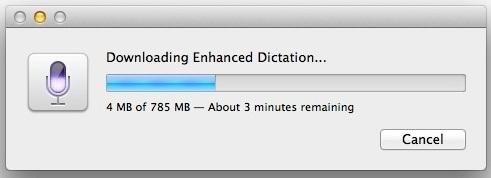 L'attivazione di Enhanced Dictation richiede il download di alcuni file sul Mac