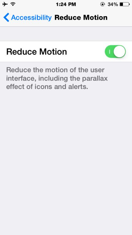 Riduci il movimento per fermare le cerniere e lo zoom in iOS 8