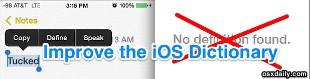 Aggiungi altre definizioni alla funzione iOS Define e elimina l'errore No Definitions Found