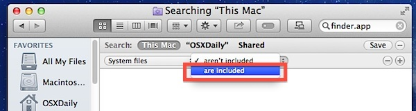 Includi file di sistema nelle ricerche di Mac OS X