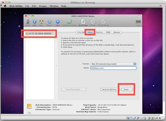 Formattare il disco rigido virtuale su HFS