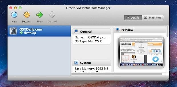 Mac OS X Snow Leopard in una VM in cima a Lion