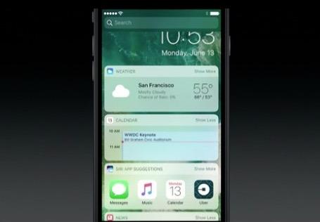 Schermate del widget per lo schermo di blocco di iOS 10