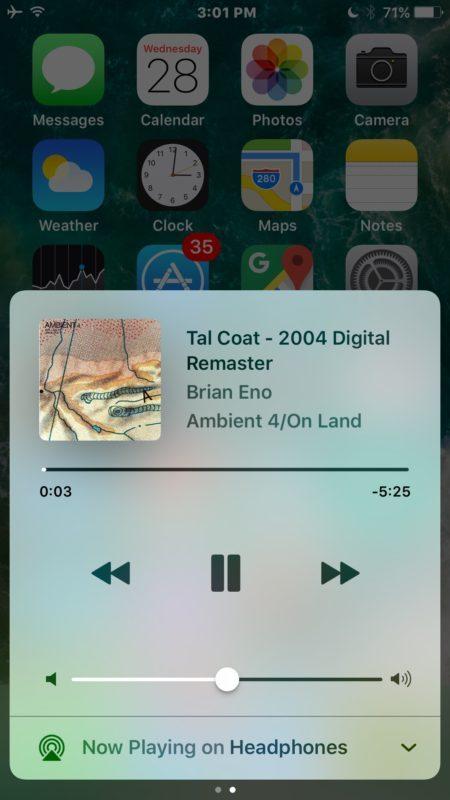 Trova musica in Control Center per iOS 10