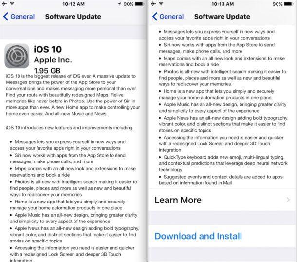 iOS 10 GM Download e installazione