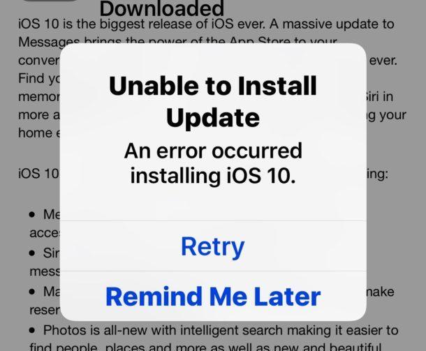 Impossibile installare l'errore iOS 10