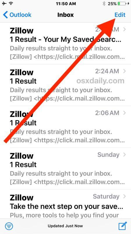 Come eliminare tutte le email in iOS 10