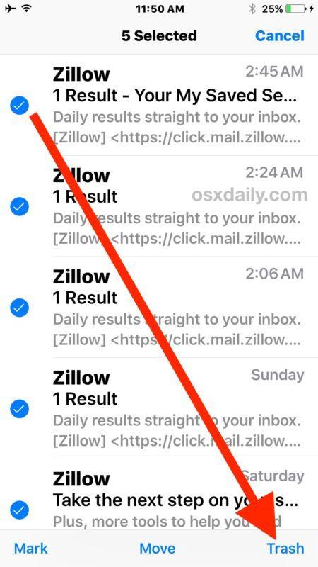 Seleziona email e quindi scegli Cestino