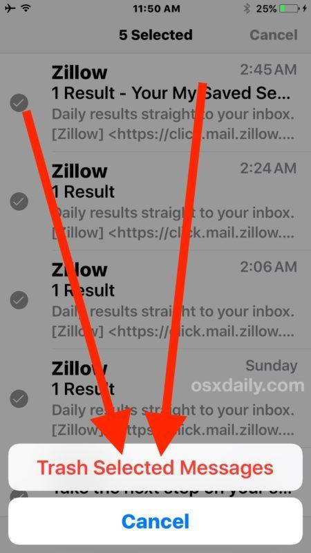 Conferma per eliminare tutte le email in iOS 10