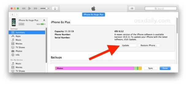 Usa iTunes per aggiornare iOS 10