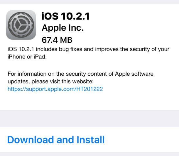 Aggiornamento del software iOS 10.2.1