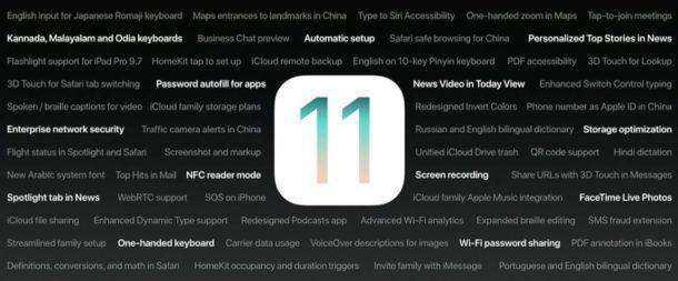 Funzioni di iOS 11