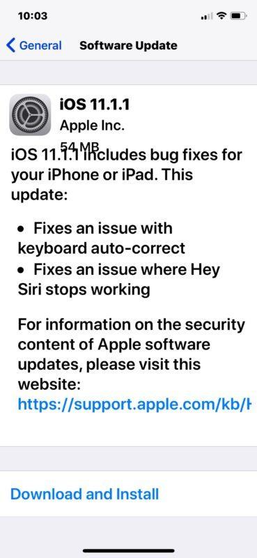 Download dell'aggiornamento del software iOS 11.1.1