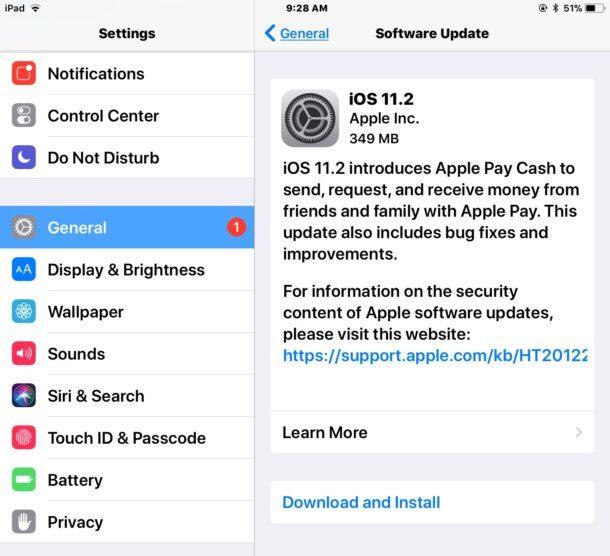 Download dell'aggiornamento di iOS 11.2