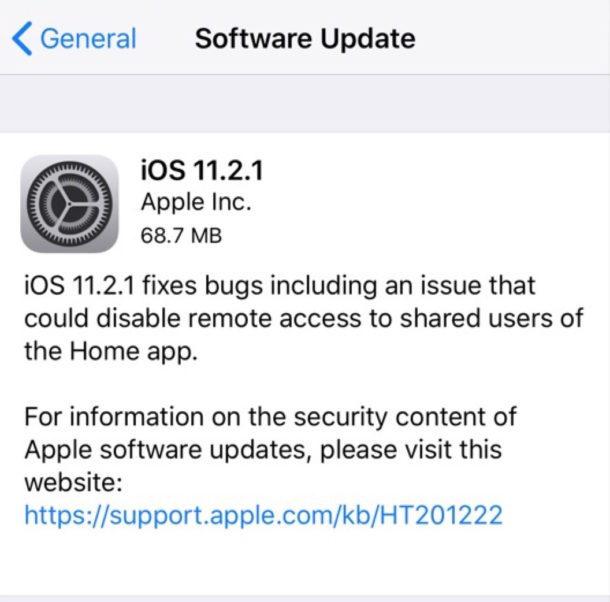 Aggiornamento del software iOS 11.2.1