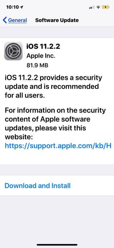 Download dell'aggiornamento software iOS 11.2.2