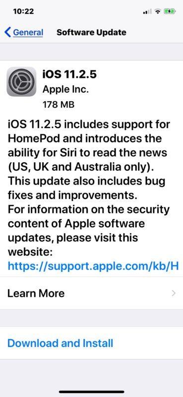 Download aggiornamento iOS 11.2.5