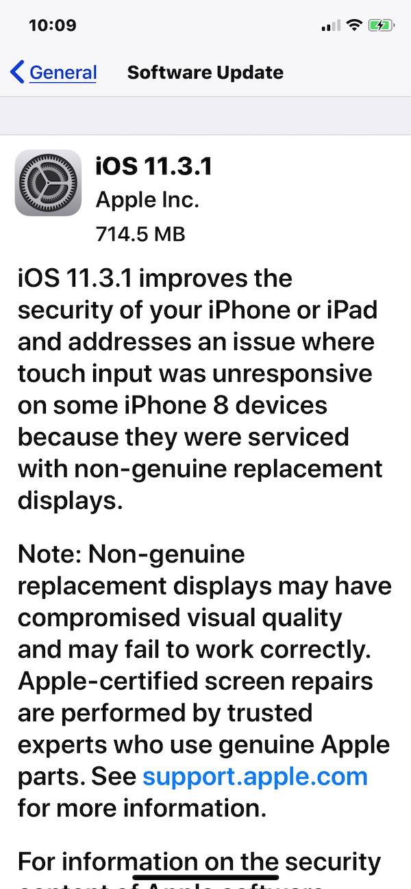 Aggiornamento download iOS 11.3.1