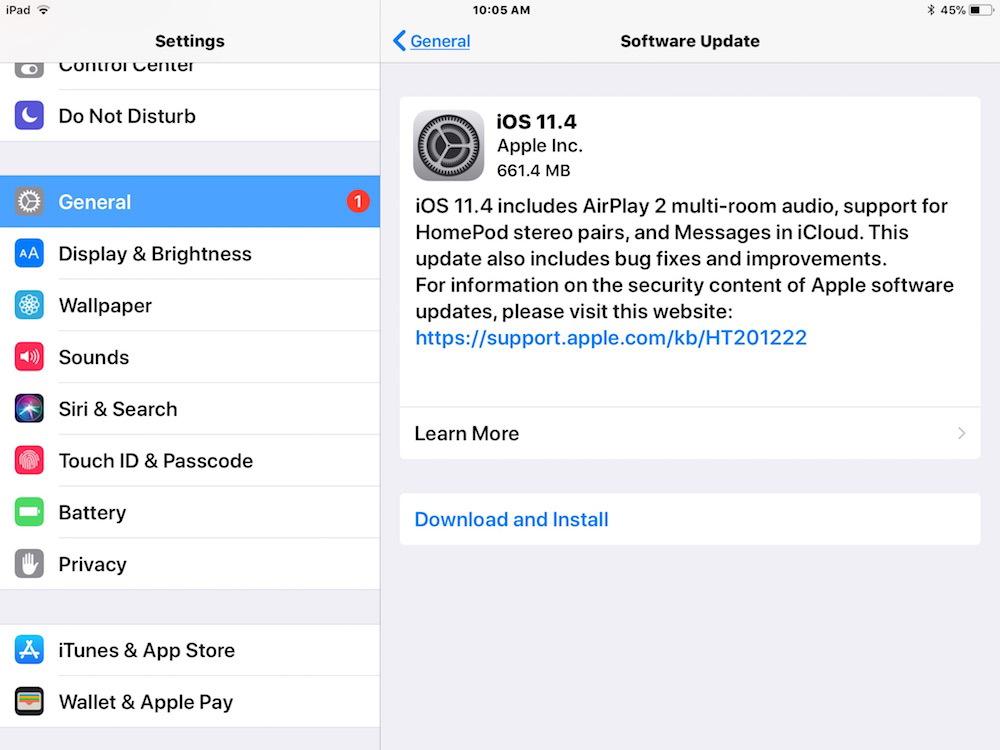iOS 11.4 aggiorna il download e l'installazione