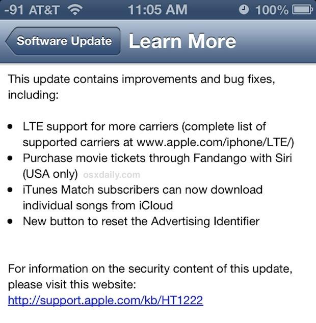 Note sulla versione di aggiornamento di iOS 6.1