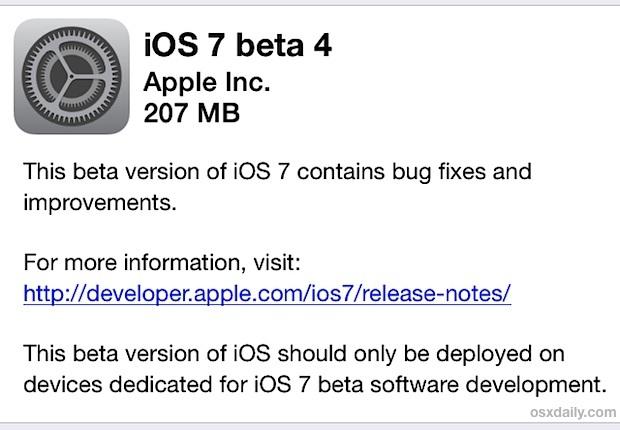 Download di iOS 7 beta 4 tramite OTA