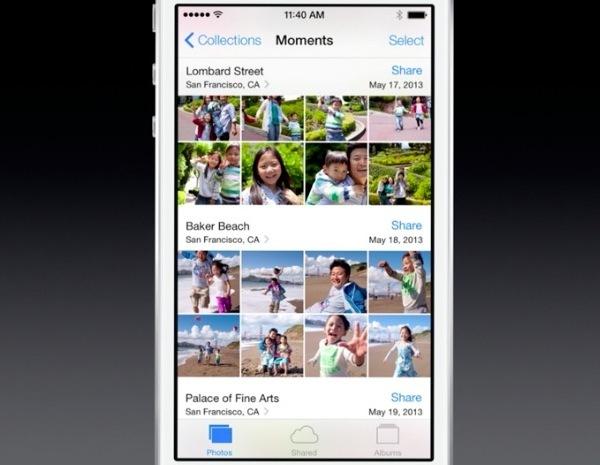 iOS 7 foto, momenti