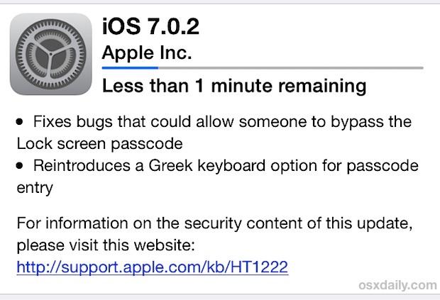 OTA di aggiornamento di iOS 7.0.2