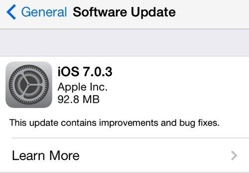 Download iOS 7.0.3 mostrato come aggiornamento OTA