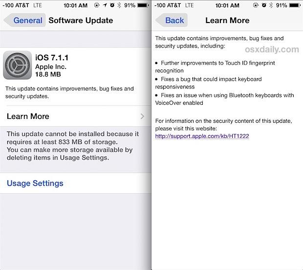 Aggiornamento iOS 7.1.1
