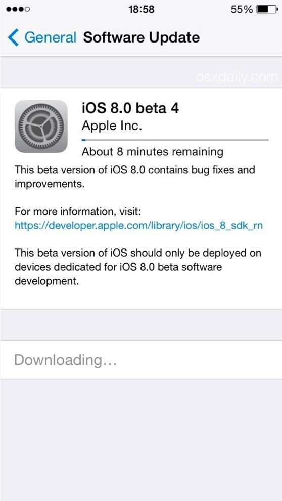 Download di iOS 8 beta 4