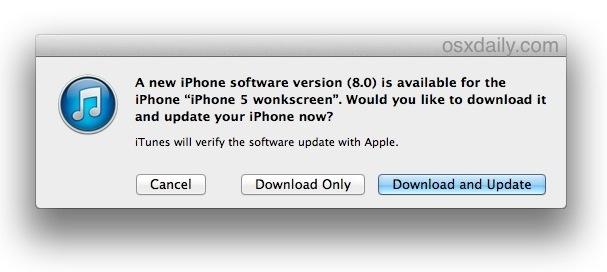Aggiornamento a iOS 8 con iTunes