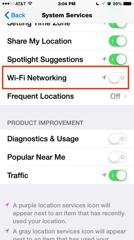 Disabilitare la rete Wi-Fi nei servizi di sistema
