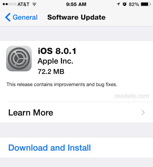Download di iOS 8.0.1 OTA